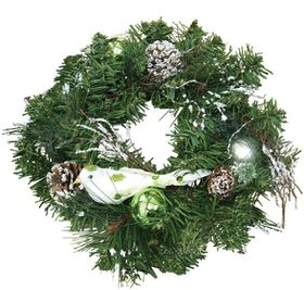 Green &amp; White Decorated Wreath with Bird (30cm)