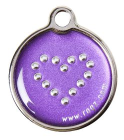 Rogz Large Metal Dog ID Tag 31mm - Purple