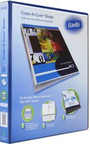 Bantex Create-A-Cover 2 D-Ring A4 20mm Ring Binder - Blue