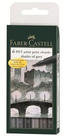 Faber-Castell PITT Artist Pens - Shades Of Grey With Brush Tip (Wallet of 6)