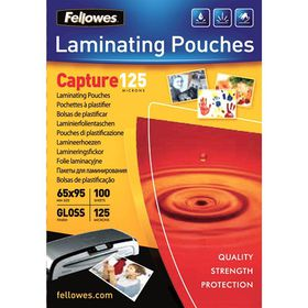 Fellowes Capture125 65x95mm Gloss Laminating Pouches - 125 micron (Pack of 100)