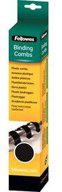 Fellowes 8mm 21 Loop Plastic Binding Combs - Black (Pack of 25)