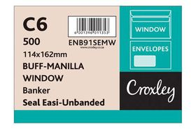 Croxley C6 Brown Window Seal Easi Unbanded (Savetime) Envelopes (Box of 500)