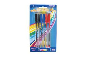 Penguin Ball Point Pen Carded - Assorted Colours (Pack of 6)