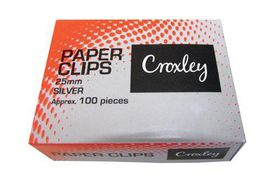 Croxley Silver Paper Clips - 25mm (Box of 100)