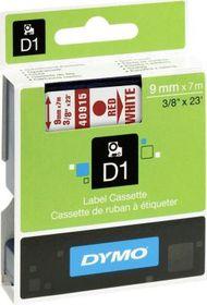 Dymo D1 Tape Cassette - Red Print on White Tape (9mm x 7m)