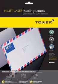 Tower W239 Mailing Inkjet-Laser Labels - Pack of 25 Sheets