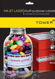 Tower W102 Multi Purpose Inkjet-Laser Labels - Box of 100 Sheets