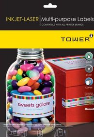 Tower W105 Multi Purpose Inkjet-Laser Labels - Box of 100 Sheets