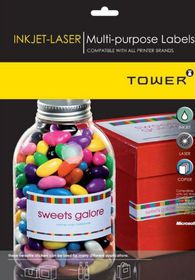 Tower W114 Multi Purpose Inkjet-Laser Labels - Box of 1000 Sheets