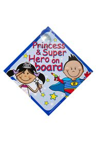 Jackflash - Baby On Board Sign - Princess and Super Hero's