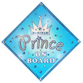 Jackflash - Baby On Board Sign - *BLING* - Prince Crown ( Afrikaans)
