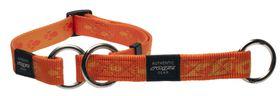 Rogz Extra-Large Alpinist Everest Web Half-Check Dog Collar - 25mm Orange