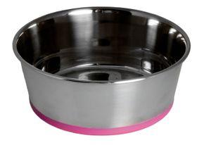 Rogz - Stainless Steel Slurp Dog Bowl Extra Extra Large - 3700ml Pink Base