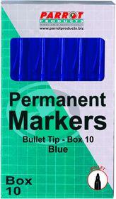 Parrot Permanent Marker Bullet Tip - Blue (Box of 10)