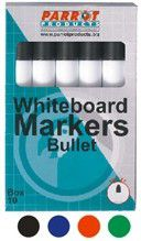Parrot Whiteboard Marker Bullet Tip - Red (Box of 10)