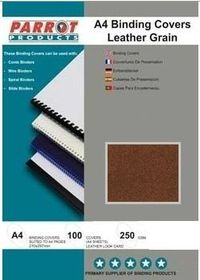 Parrot A4 Leather Grain 250gsm Binding Covers 100s - Brown