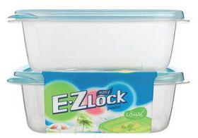 Lock and Lock - EZ Lock - 2 Piece Rectangular Container Set Blue - 520ml