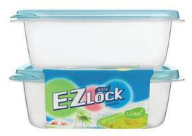 Lock and Lock - EZ Lock - 2 Piece Rectangular Container Set Blue - 890ml