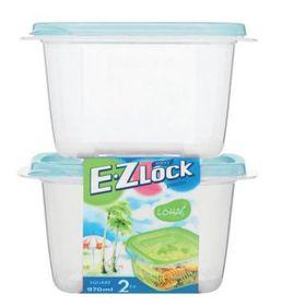 Lock and Lock - EZ Lock - 2 Piece Square Container Set Blue - 970ml