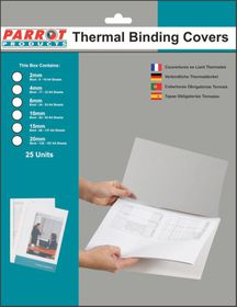 Parrot 6mm Thermal Binding Cover - White & Clear (25 Pack)