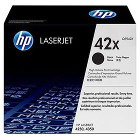 HP # 42X Black LaserJet 4250/4350 Cartridge HP LaserJet Print Cartridge.  Average  Cartridge Yield 20 000 pgs.  Declared  yield value in accordance with ISO/IEC  19752.