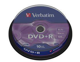 VERBATIM - 4.7GB DVD+R (16X) - MATT SILVER, SPINDLE (PACK OF 10)