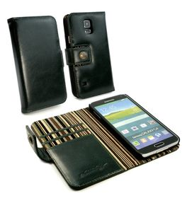 Tuff-Luv Alston Craig Vintage Genuine Leather Wallet Case Cover for Samsung Galaxy S5 - Racing Green