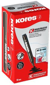 Kores K-Marker Permanent Markers Round Tip - Black (Box of 12)