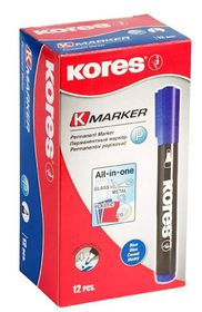 Kores K-Marker Permanent Markers Round Tip - Blue (Box of 12)