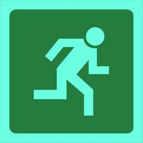Tower Photoluminescent Sign - Man Running Right