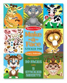 Melissa & Doug Make a Face Sticker Pad - Crazy Animals