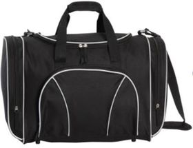 Eco Sports Bag with white Piping - Black