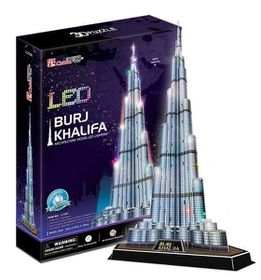 Cubic Fun Burj Khalifa - Dubai With LED Unit - 136 Piece 3D Puzzle