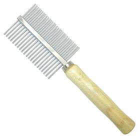 MCPets - Double Sided Metal Comb With Wooden Handle