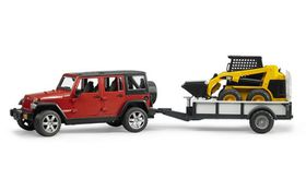 Bruder Jeep Wrangler UR with Trailer & Cat Skid Steer Loader
