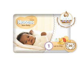 Huggies - New Baby - Size 1 x 26 Nappies (up to 6kg)