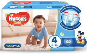 Huggies - Gold Boy - Size 4 - 120 Nappies Mega Box (8-14kg)