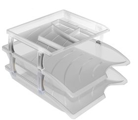 Bantex Optima Letter Trays & Organiser Set - Clear (Retail Pack)