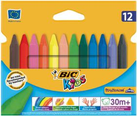 BIC Kids Plastidecor Triangle 12 Crayons