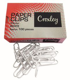 Croxley White Paper Clips - 33mm (Box of 100)