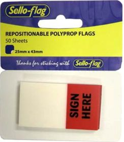 Sello-Flag Repositionable PP Flags - Sign Here (50 Sheets)