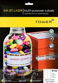 Tower W102 Multi Purpose Inkjet-Laser Labels - Pack of 25 Sheets