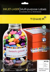 Tower W105 Multi Purpose Inkjet-Laser Labels - Pack of 25 Sheets
