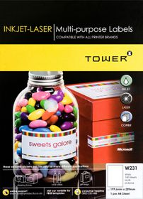 Tower W231 Multi Purpose Inkjet-Laser Labels - Box of 100 Sheets