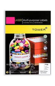 Tower C106 A4 Laser Multi Purpose Labels (Fluo Pink) - Box of 100 Sheets