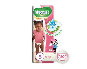 Huggies - Gold Girl - Size: 5 - 50 Per Pack (15+ kg)