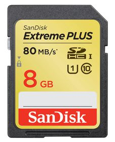 SanDisk 8GB Extreme Plus SDHC Card