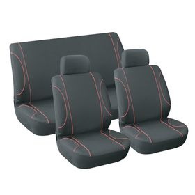 Stingray - Monaco 6 Piece Car Seat Cover Set - Black and Red