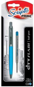 "Scripto Prime ""City Flash"" Turquoise Barrel Ballpoint Pen"